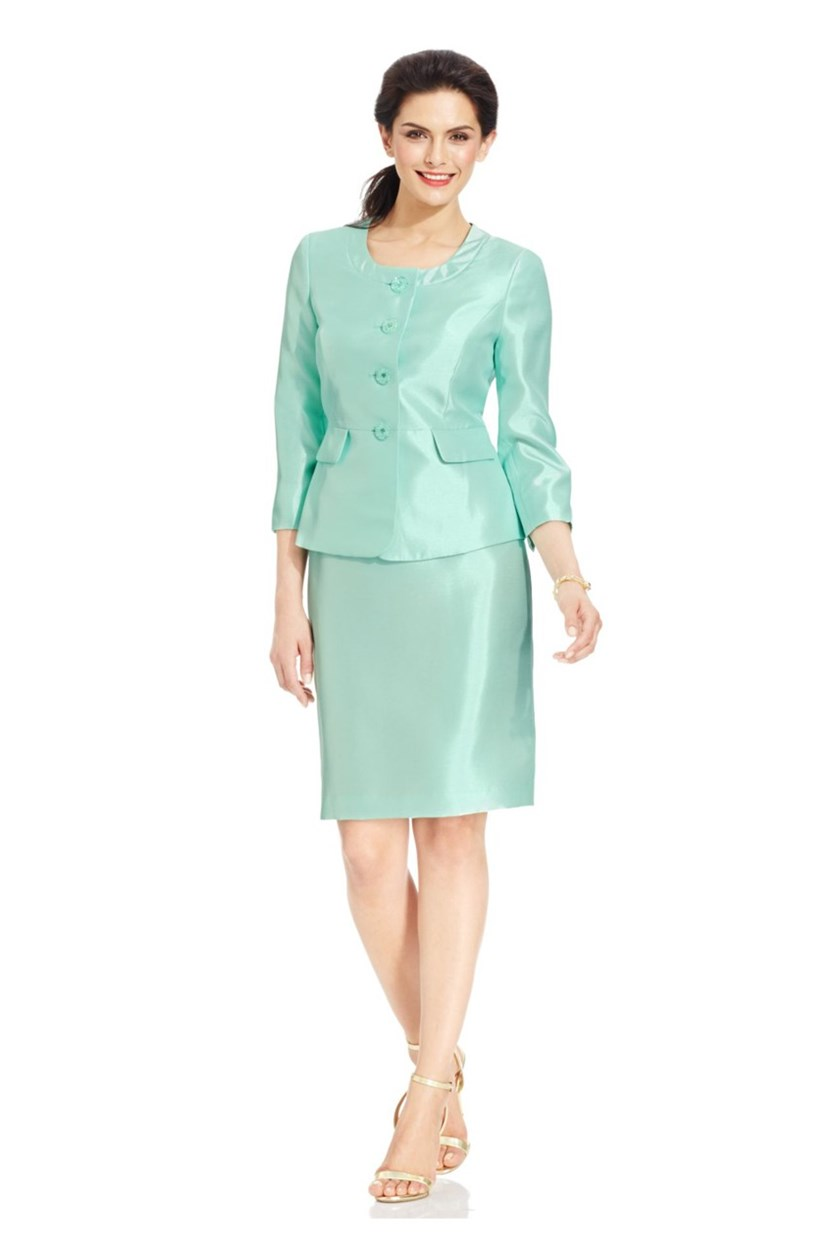 Satin Four-Button Skirt Suit Set,Mint