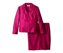 Le Suit Petite Three-Button Shantung Skirt Suit, Magenta