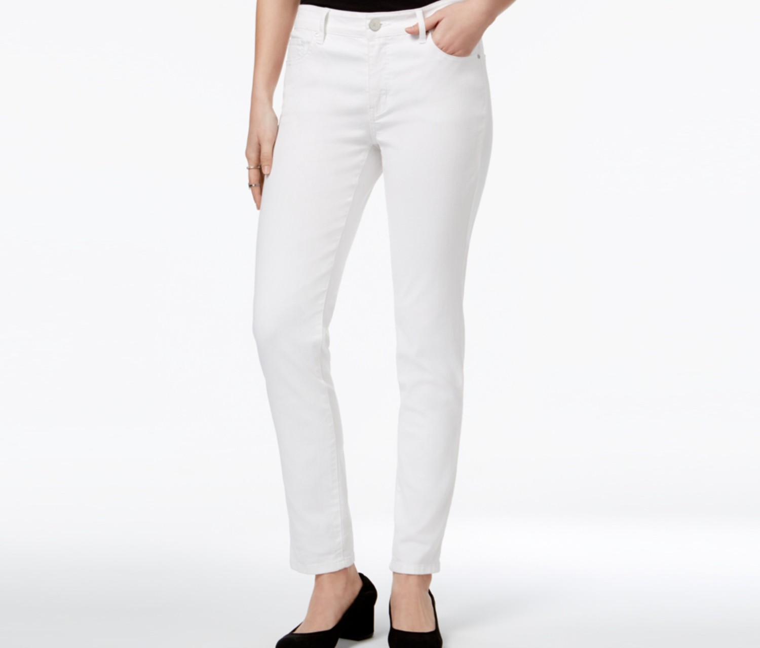 Bright White Wash Ankle Skinny Jeans, White