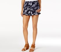 Maison Jules Printed Ruffled Shorts, Blue Notte