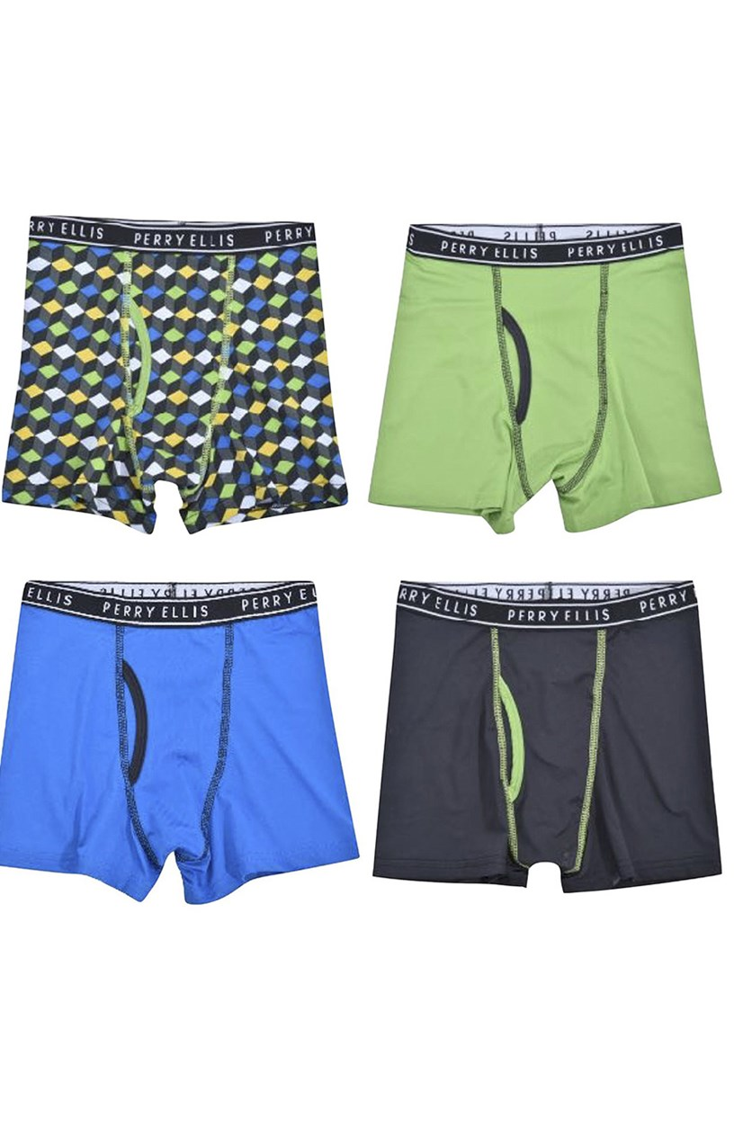 Boys 4-Pack Boxer Briefs, Green/Blue/Navy