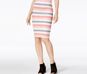 Bar III Striped Pencil Skirt, Washed White Combo
