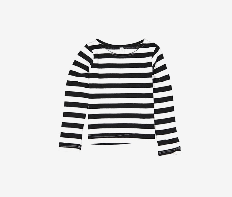 Toddler's Long Sleeve Stripes, Black/White