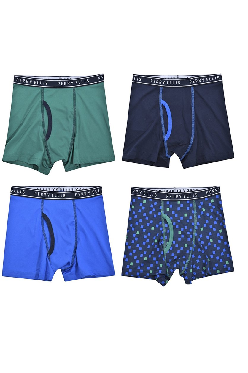Boy's 4-Pack Boxer Brief, Blue/Green/Navy