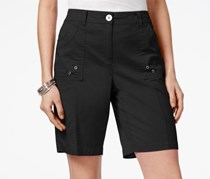 Karen Scott Curved-Pocket Shorts, Deep Black