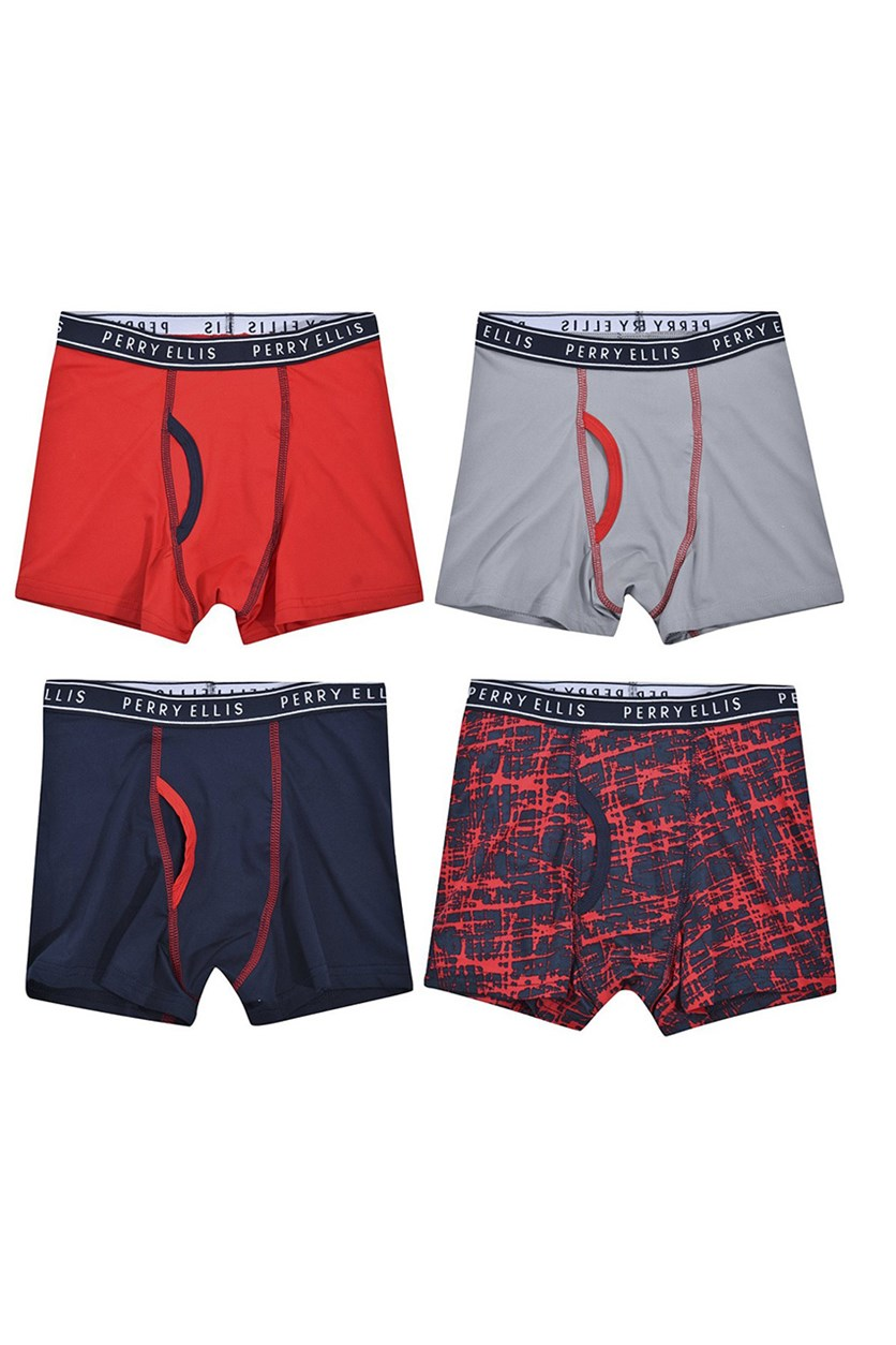 Boy's 4-Pack Boxer Brief, Black/Red/Grey