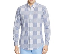 Brooks Brothers Regent Patchwork Button-Down Shirt, Blue/White