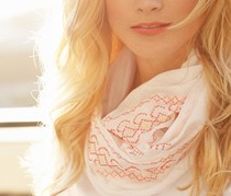 Women's Tube Scarf, embroidery, coral