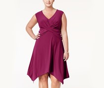 Love Squared Trendy Plus Size Handkerchief Hem Dress, Purple