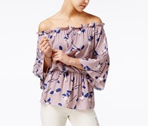 Say What Juniors' Printed Off-The-Shoulder Peasant Top, Orchid
