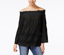 Say What Juniors' Off-The-Shoulder Lace-Stripe Top, Black