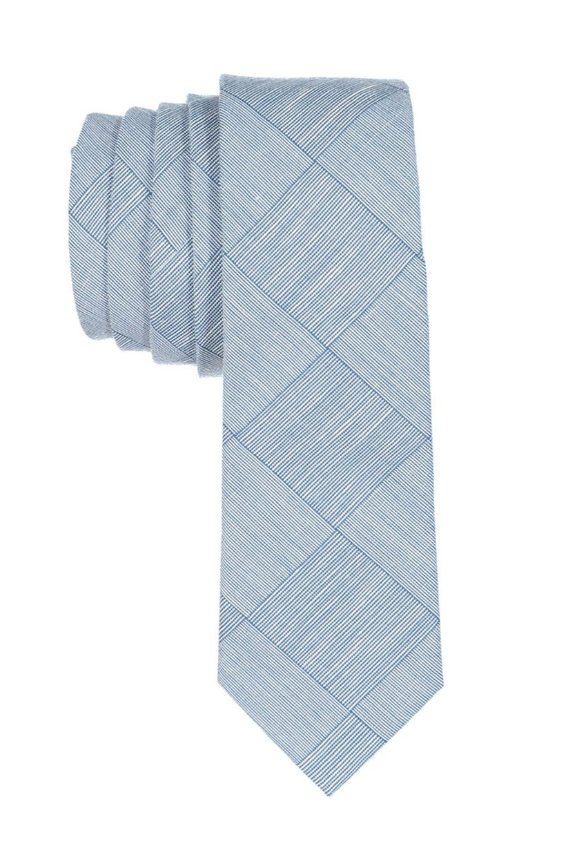 Boy's  Plaid Neck Tie, Teal/Grey