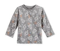 First Impressions Rocket-Print Long-Sleeve, Pewter Heather
