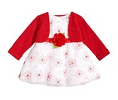 Sweet Heart Rose 2-Pc. Shrug & Embroidered-Floral Dress, Red/White