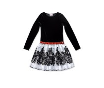 Toddlers Flocked Check-Skirt Dress, Black/White