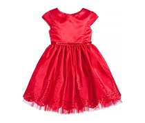 Sweet Heart Rose Laser Cut Dress, Red