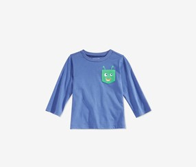 Toddlers Long-Sleeve Graphic-Print T-Shirt, Tropic Blue
