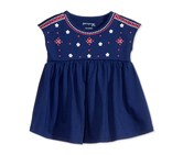 First Impressions Dolman-Sleeve Cotton Babydoll Tunic, Medieval Blue