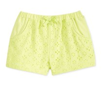 Toddlers Eyelet Cotton Shorts, Lime Twist