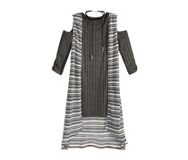Kids Girls 2-Pc. Cold-Shoulder Dress, Charcoal Grey