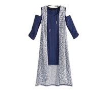 Sequin Hearts Big Girls 3-Pc. Cold-Shoulder Sweater Dress, Duster Vest & Necklace Set, Navy