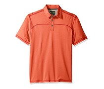 G.H. Bass & Co. Men's Explorer Textured Short Sleeve Polo, Molten Lava Heather