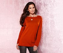 Women's Pullover Scoop Neck, Orange