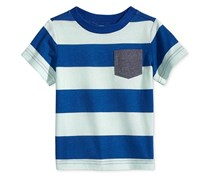 First Impressions Rugby-Stripe T-Shirt Baby Boys, Beach Glass