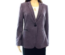 Tahari Patterned One Button Blazer,Purple Combo