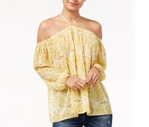 Say What Juniors' Off-The-Shoulder Peasant Top, Yellow
