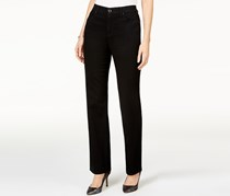 Jm Collection Petite Embellished Straight-Leg Jeans, Black