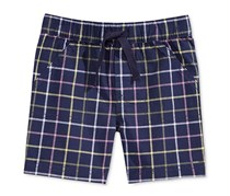 First Impressions Cotton Plaid Pull-On Shorts, Navy Nautical