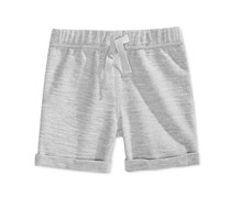 First Impressions Heathered Pull-On Shorts, Baby Slate Heather