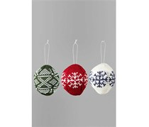 Ball Pendants, Knitted, Set of 3, Green/Red/White