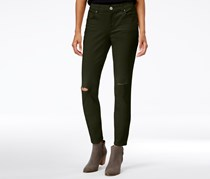 Style & Co Ripped Colored Wash Skinny Jeans, Evening Olive