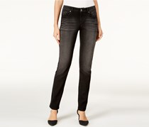 Style & Co. Petite Studded Straight-Leg Jeans, Black/Jewel