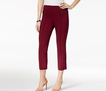 Petite Pull-On Cropped Pants, Burgundy