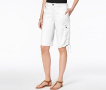 Style & Co Petite Ruched-Hem Cargo Bermuda Shorts, Bright White