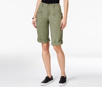 Style & Co Petite Cuffed Zipper-Detail Short, Olive Sprig
