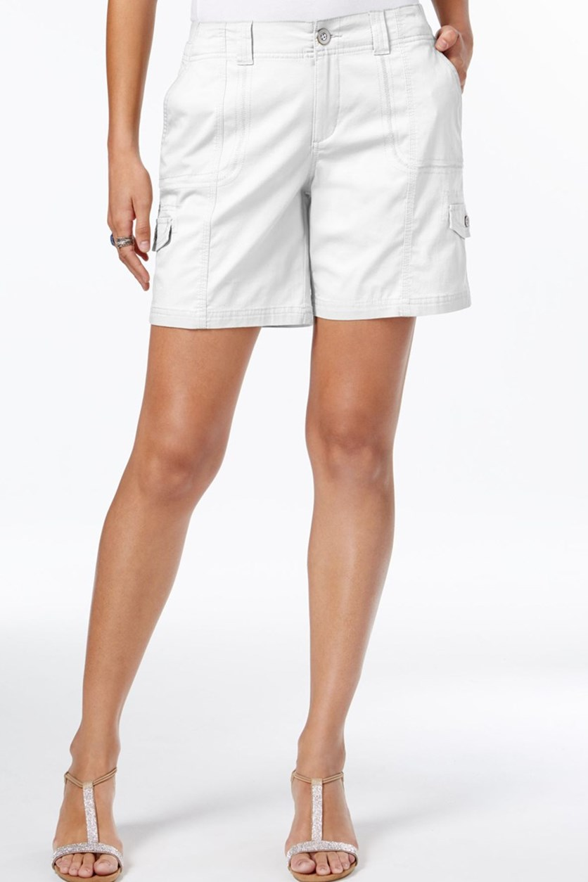 Comfort-Waist Cargo Shorts, Bright White