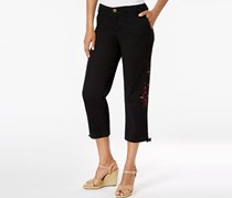 Style & Co Women's Embroidered Ruched Capri Pants, Black