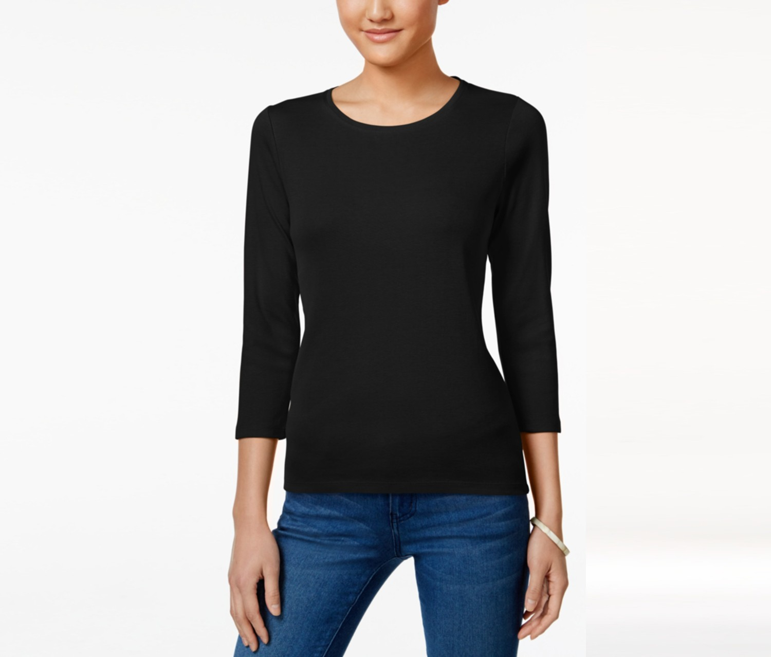 Petite Three-Quarter-Sleeve Top, Black