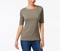 Charter Club Elbow-Sleeve Textured Top, Olive Drab