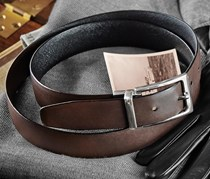 Men's Leather Belt, Black/Brown