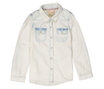 Lefties Kids Girls Washed Denim Shirt, Blue/Beige