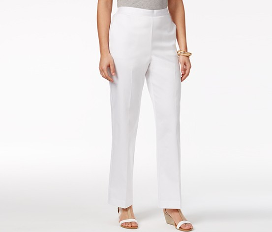 Petite Pull-On Pants, White