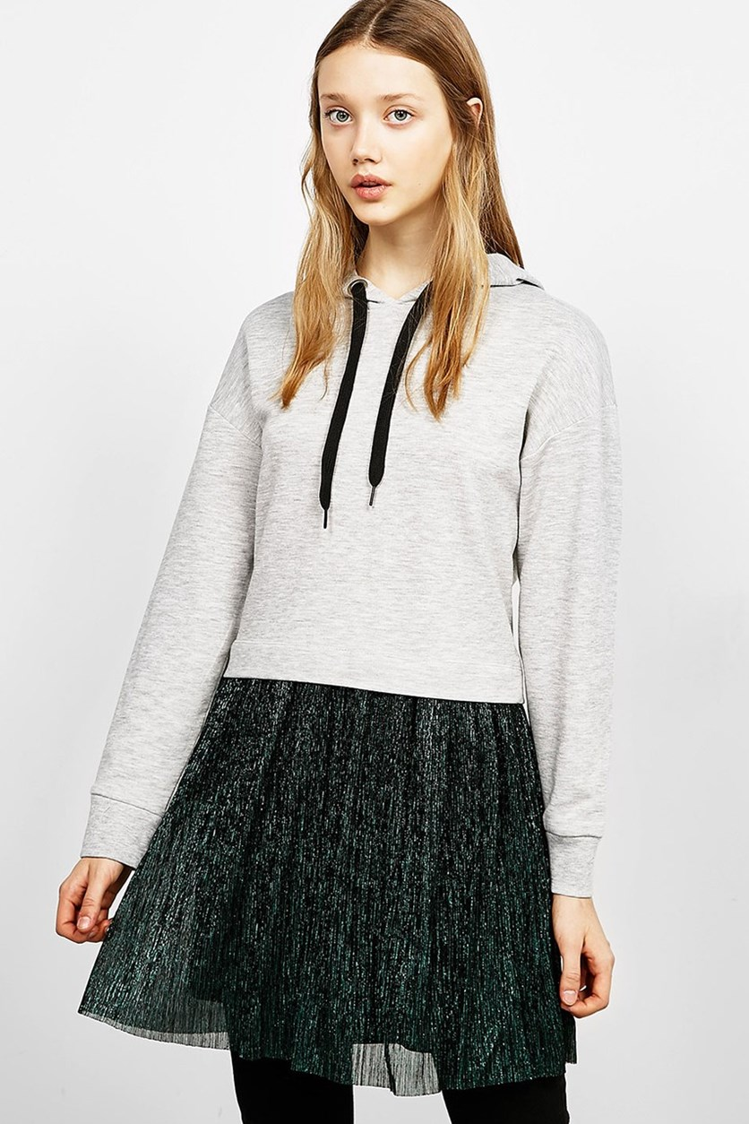 Dress With Plush Sweatshirt And Shimmer Skirt, Grey/Green