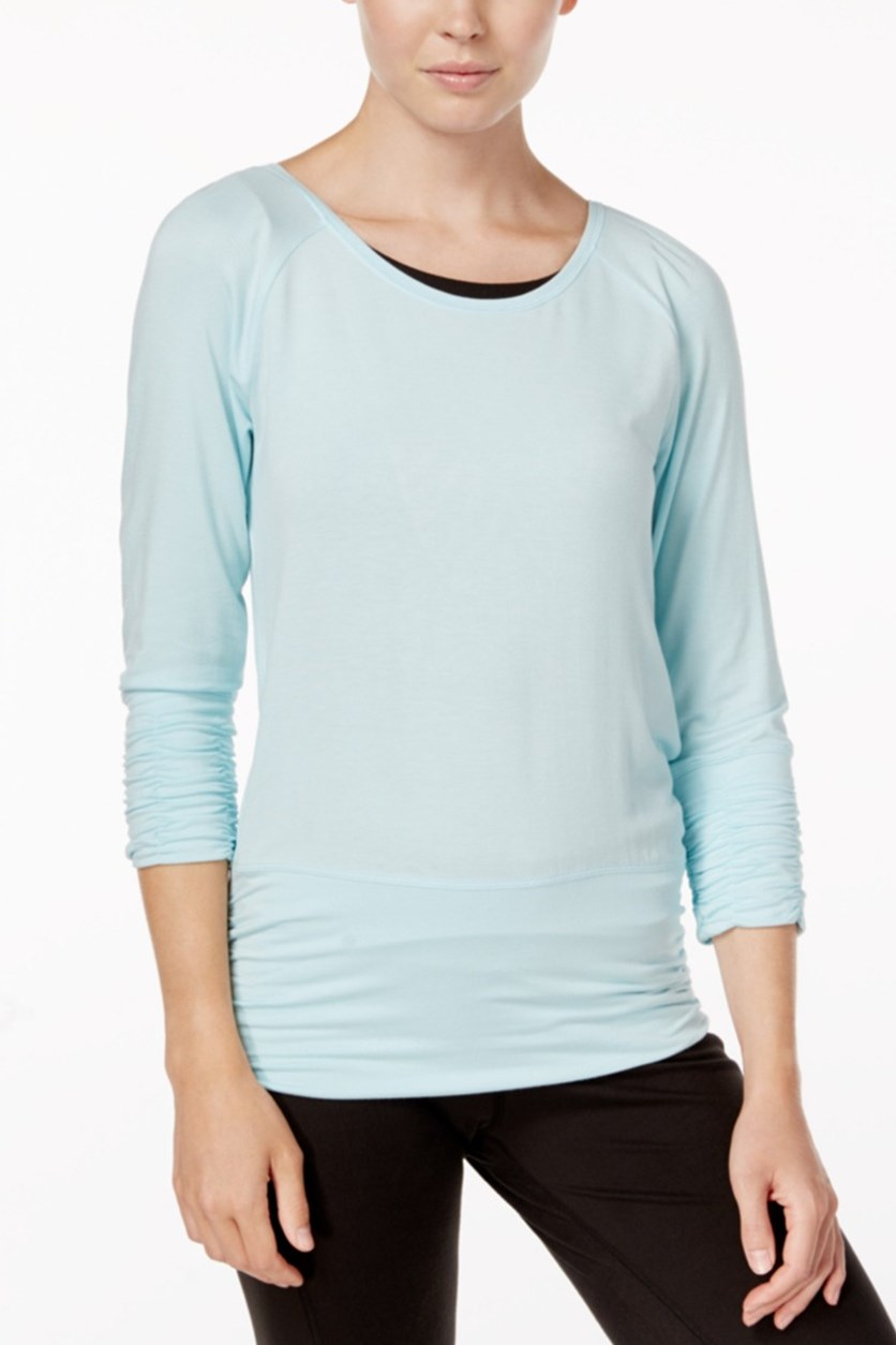 Gaiam Clover Strappy-Back Long-Sleeve Top, Crystal Blue