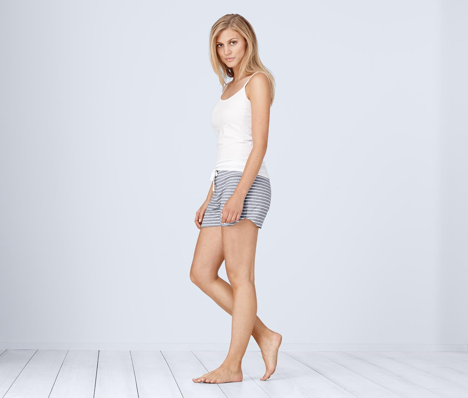 Women's Shorts, Gray/White