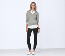 Women's V-neck Pullover, Grey melange